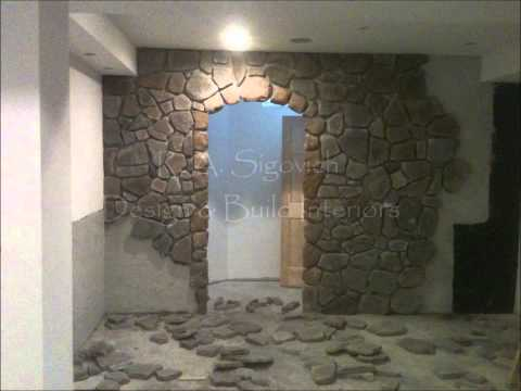 R  A  Sigovich Design & Build Interiors ~ Custom Bar & Wine Cellar with Stone  12  2013