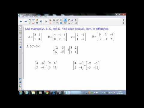 Algebra II sec4 3 part 1 scalar multiplication of matrices
