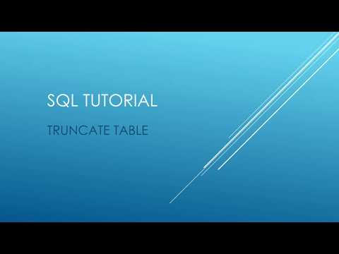 SQL Tutorial - TRUNCATE TABLE