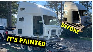 Painting a Salvaged Cab for 2018 Volvo VNL Semi Truck Part 3