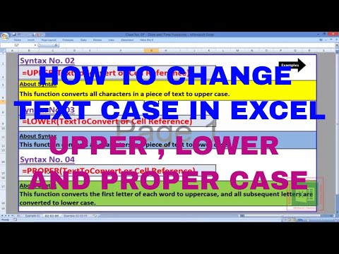 How to change text case in excel