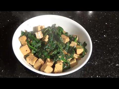 Pan-Fried Tofu with Garlic & Spinach