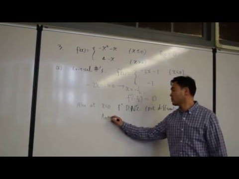 Critical numbers and relative extrema for piecewise functions