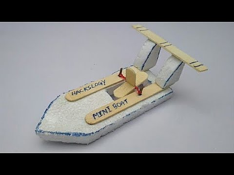 How to make mini boat    rubber band boat   