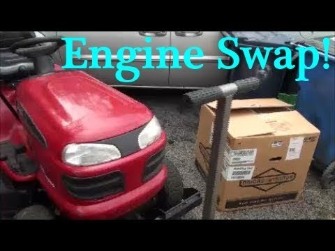 HOW TO SWAP a RIDING LAWNMOWER Engine in LESS THAN an HOUR! Craftsman BRIGGS and STRATTON Motor SWAP