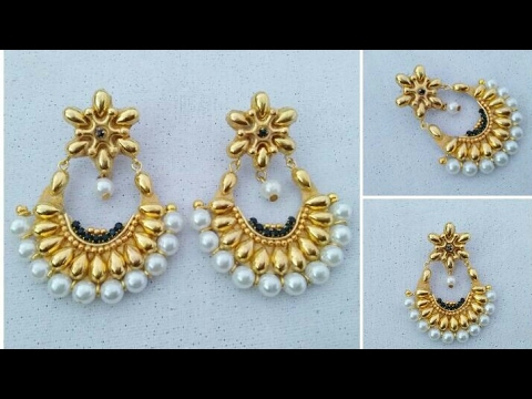 How To Make Designer Earrings // Chandbali Earrings // Paper Jewellery Making //Latest Jewelry //DIY