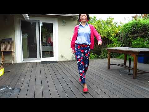 OOTD - blue red flower pants