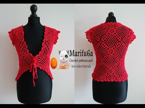 How to crochet red jacket bolero free tutorial pattern all sizes