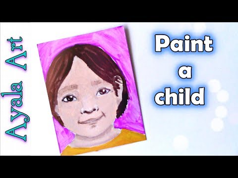 Acrylic portrait whimsical | paint a child's face | Ryan's toysreview | 29faces by AyalaArt