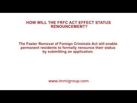 How will the FRFC Act effect status renouncement?