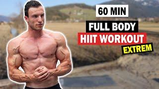 60 Minuten HIIT Ganzkörper Workout für Zuhause ohne Geräte!