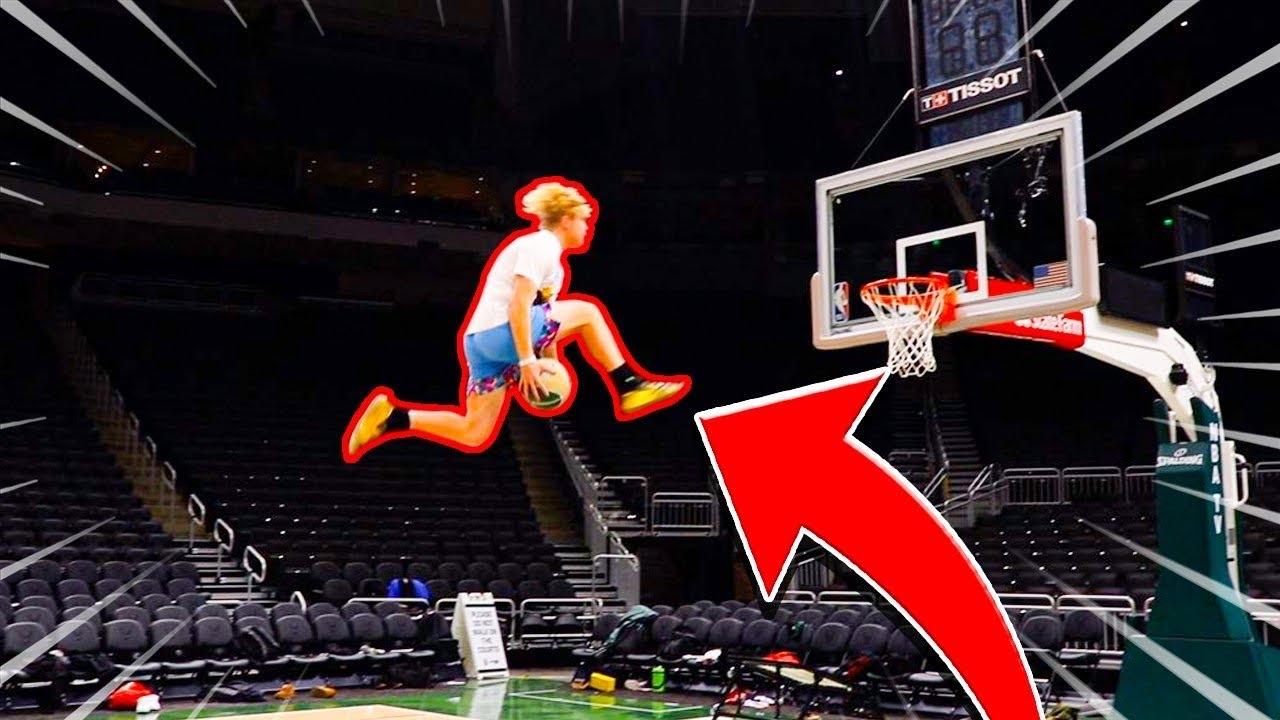 """Mega Trampoline Game Of """"D.U.N.K"""" At NBA Arena!"""