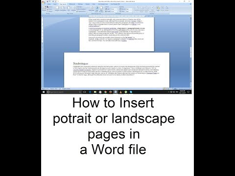 insert portrait or landscape pages in a word file (Hindi)