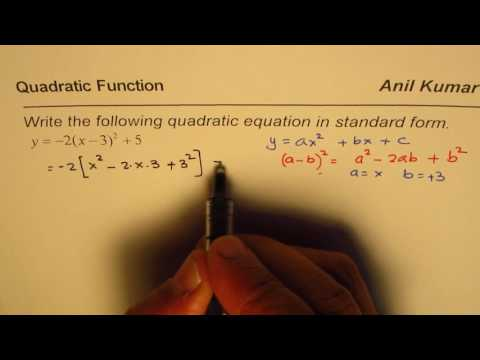 How to convert Quadratic Equation from vertex to standard form