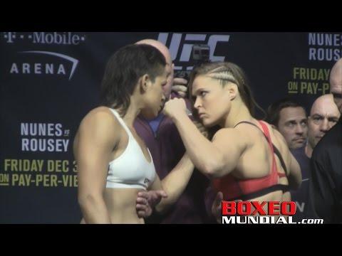 Ufc 207 Ceremonial Weigh In Amanda Nunez Vs Ronda Rousey