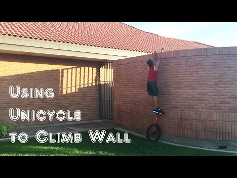 11 Years Old Kid Using His Unicycle To Climb A Wall