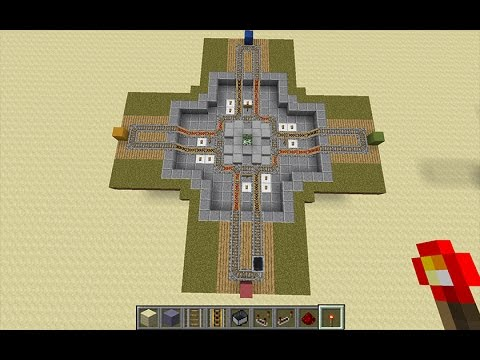 Minecraft - Easy 4-Way Double Rail Minecrart Intersection