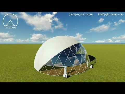 3D Animation of Glamping Dome Tent - Tented Resort - Geodesic Dome house Manufacturer