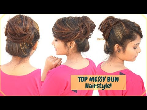 1 Min Top Messy Bun Hairstyle With FRINGE/Bangs Styling| Easy Indian Hairstyle For Medium Hair