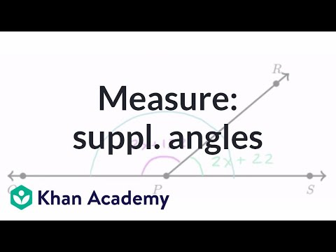Find measure of supplementary angles | Angles and intersecting lines | Geometry | Khan Academy