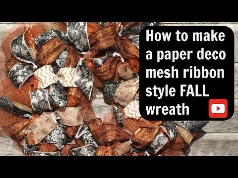 How to make a paper ribbon style deco mesh wreath