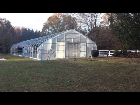 The Snow Arch Greenhouse Build  Part 5  Installing doors and covering the end walls