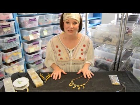 Making a necklace with beads, charms and suede cord with ribbon clamps