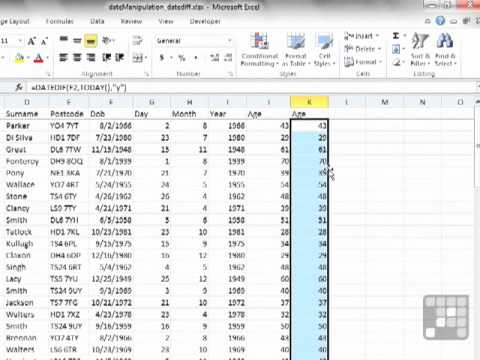 MS Excel Tutorial - DATEDIF a Hidden but Useful Formula