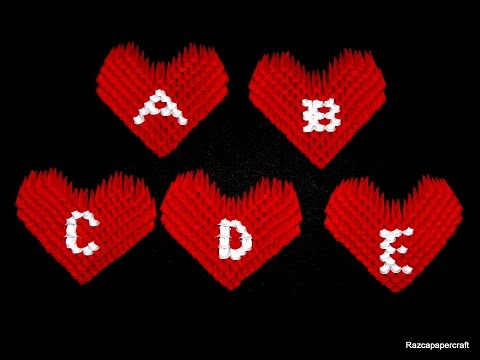 3d origami small heart tutorial ( letters A-E)