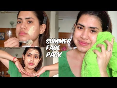 SUMMER FACE PACK for glowing skin and removing sun tan naturally at home | For Oily dry normal skin