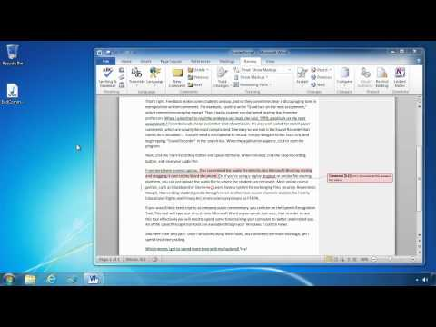 Grading Papers with Word 2010 and Windows 7 (cc)
