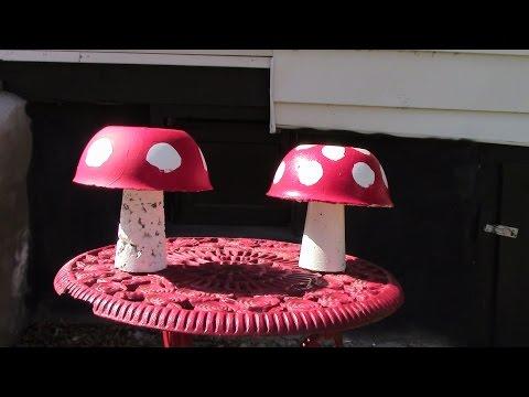 Cement Mushrooms -- Part 2, Painting