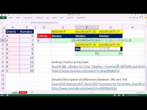 Excel Magic Trick 1035: Calculate Median with 1 condition with AGGREGATE & PERCENTILE.INC function