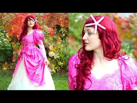 How To Make An Ariel Dress! Thrift Store Wedding Dress Princess Costume!