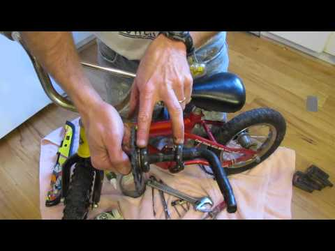 Convert child's bike to balance bike for older learner (i.e. strider bike)