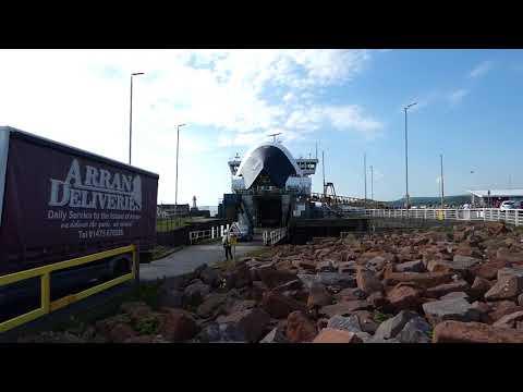 Vehicles unload from Calmac Isle of Arran ferry at Ardrossan Ayrshire Scotland UK