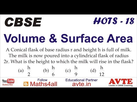 A Conical flask of radius r & height h is full.Milk is now into a cylindrical flask of radius2r | 18