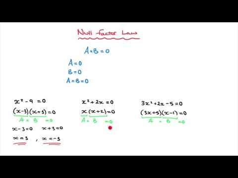 The Null Factor Law - Solving Quadratic Equations, written in Factored Form