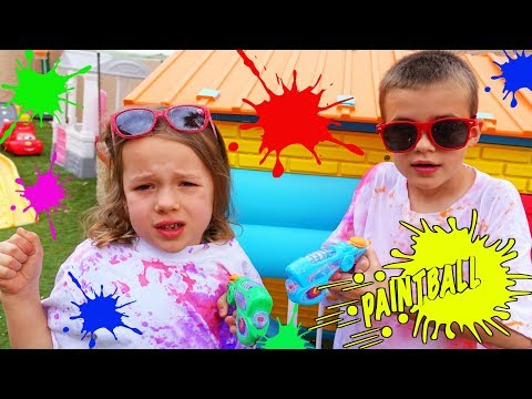 Kids Paintball Sprayers Behind The Scenes Vlog With Backyard Paint