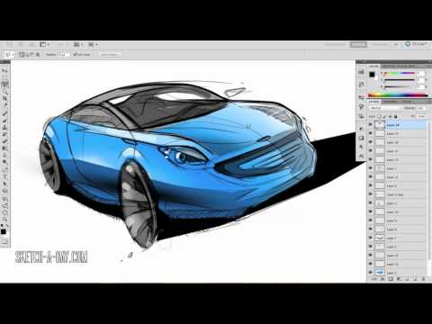 Sketch-A-Day 353: Car Sketch and Render Pt2