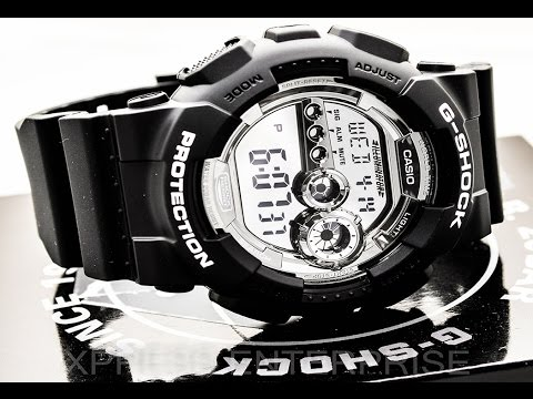 Casio GSHOCK GD100BW-1 REVIEW   How To Set Time   LIGHT DISPLAY