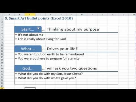 Excel Quick Tip: Smart Art bullet points in Excel (5 of 5)