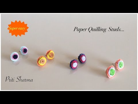 Tricolour Paper Quilling Studs Charm / How To Make Studs With Quilling | Priti Sharma