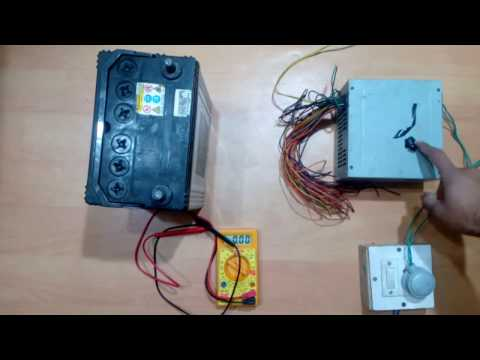 Safely charge a car battery using a computer Power Supply Unit (PSU)