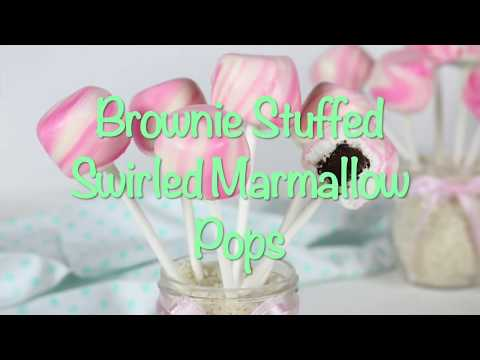 Brownie Stuffed Swirled Marshmallow Pops