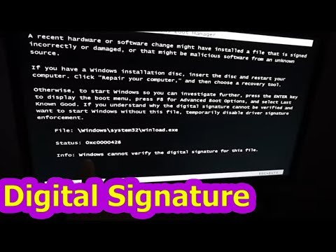 Windows cannot verify the digital signature for this file (0xc0000428)