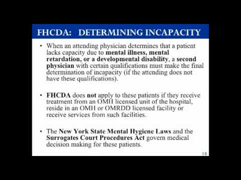 Medical Decision Making -- New York State Family Health Care Decisions Act