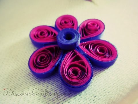 DIY Paper Quilling Tutorial - Pink and purple flower