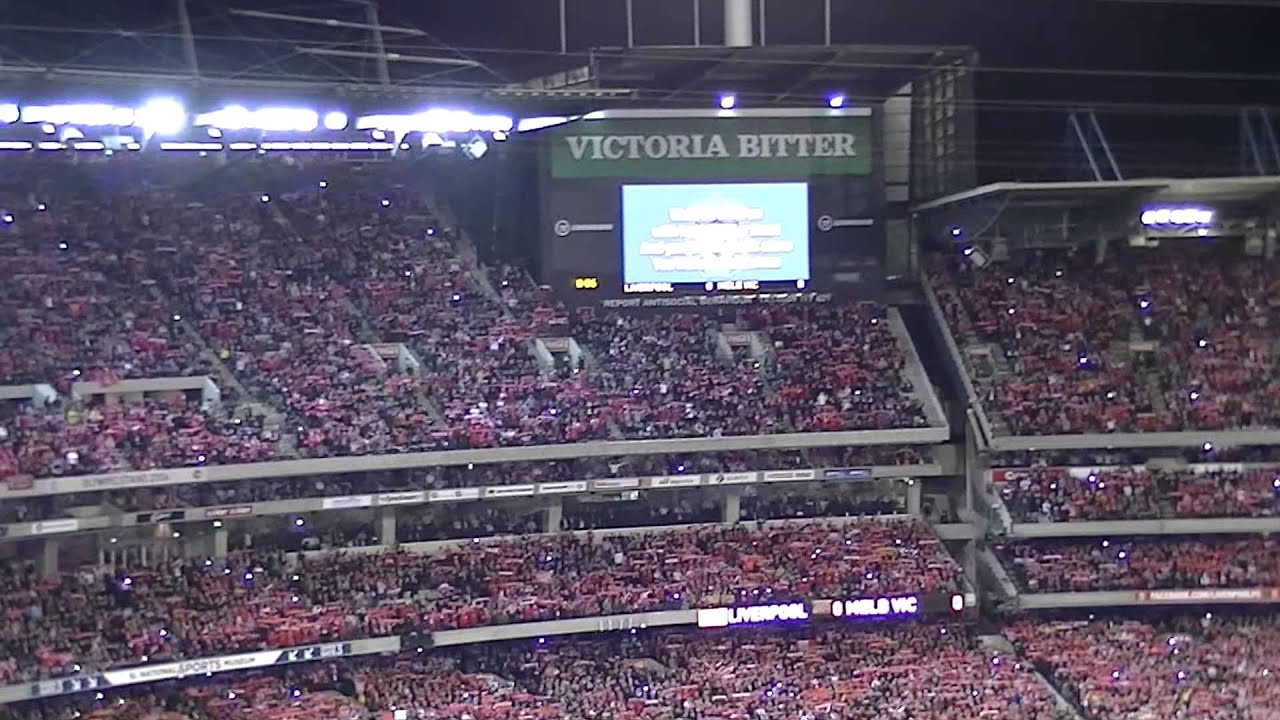 """95,000 Liverpool Fans sing """"You'll never walk alone"""" at the MCG 2013"""