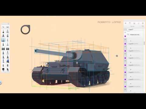 How to draw realistic tank from World War II